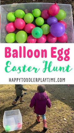 Balloon Easter egg hunt is a fun twist on the traditional plastic Easter egg hunt! Instead of using plastic eggs to hide treats, use balloons! Outdoor Activities For Toddlers, Kids Learning Activities, Easter Activities, Easter Hunt, Plastic Easter Eggs, Easy Easter Crafts, Up Balloons, Egg Hunt, Toddler Preschool