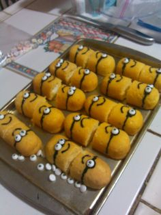 Minion party. Despicable me party.  Not sure what these are but gave idea to make these with corn dogs.