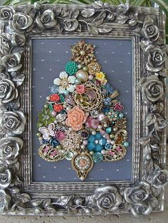 Shabby Cottage Vintage Jewelry Framed CHRISTMAS TREE ~Lots of ROSES~