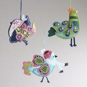 Embroidered Felt Cuckoo Bird Ornaments, Set of 3