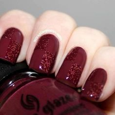 Try this look with a # of different holiday polishes - tape off quads of each nail, or an accent nail - base with 1 shade, use coordinating glitter over 2 opposite quads. Shown here in deep cranberry shades.