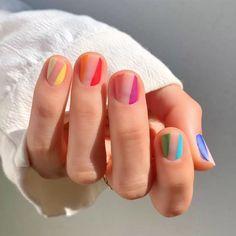 Cute And Pretty Nail Art Designs For Acrylic Short Nails - Nail Art Connect If you think acrylic nail art is only for long nails, you're wrong. Short nails can still be pretty nail Striped Nail Designs, Striped Nails, Nail Art Stripes, Polka Dot Nails, Simple Nail Art Designs, Pretty Designs, Minimalist Nails, Rainbow Nails, Neon Nails
