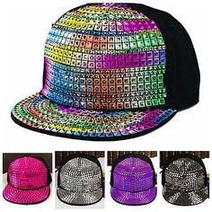 Vbiger Pyramid Plastic Studs Bling Flat Hip Hop Cap Rivet Spikes Hat Rock Punk