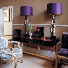 purple and silver lamps