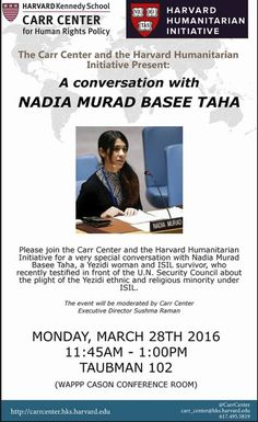 Dialogue with Nadia Murad at the Carr Center for Human Rights Policy.