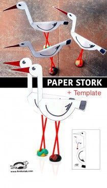 Paper stork + template This could be adapted rather modestly to make Black-necked Stilts! Bird Crafts, Animal Crafts, Fun Crafts, Crafts For Kids, Paper Plate Crafts, Paper Crafting, Paper Birds, Paper Toys, Elementary Art