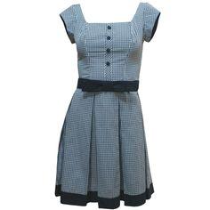 Vestido Decote Quadrado Xadrez com Saia de Pregas - PREVIEW DE INVERNO! R$245.00