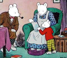 Rupert bear shows plan for a sleigh