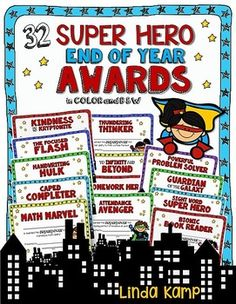 These end of year super hero awards make acknowledging your students superpowers both easy and fun! The printable planning pages and clickable table of contents make planning, printing and presenting a snap! Included are 32 awards in 4 styles. Each award is included in a boy, girl, color and black & white version.
