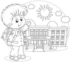 Children Reading Book Coloring Page For Preschoolers Back To School