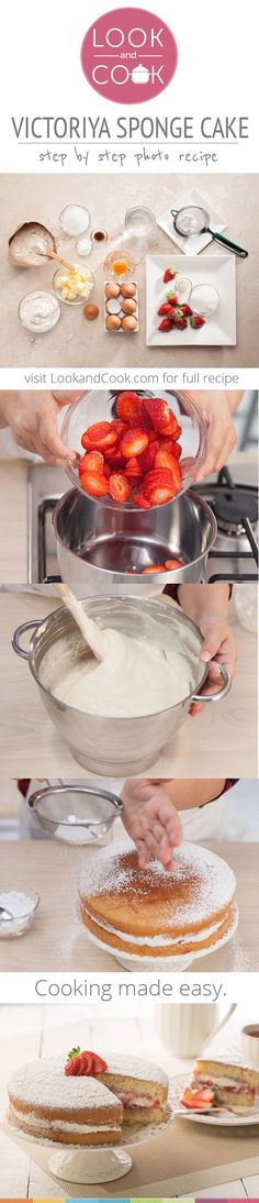 Victoria sponge cake Recipe ( Tradtional English sponge cake, stuffed with fluffy whipped cream, and fresh juicy strawberries to create the effortless Victoria Sponge Cake. Sweets Cake, Cupcake Cakes, Cupcakes, Look And Cook, Victoria Sponge Cake, Bolo Cake, Sponge Cake Recipes, Pastry Cake, Desert Recipes