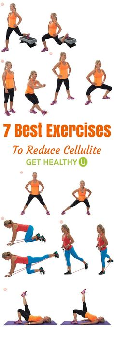 Here are some moves that will focus on the cellulite-prone areas of your lower body. Try these 2-3 times per week for best results.