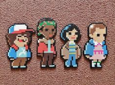 I did these Stranger Things in Perler form based off of pixels for a non-existent video game created by Johan Vinet. Perler Bead Designs, Perler Bead Templates, Hama Beads Design, Diy Perler Beads, Perler Bead Art, Pearler Beads, Hama Beads Kawaii, Melty Bead Patterns, Pearler Bead Patterns