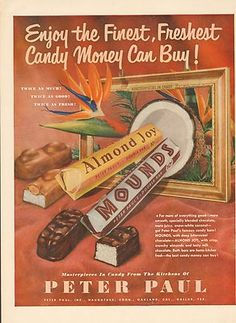 1951 Mounds Candy Bar Ad Original Magazine Advertising 1950s