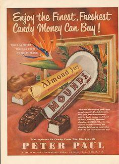 1951 Mounds Candy Bar Ad Original Magazine Advertising 1950s