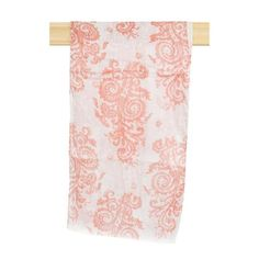 White Lightweight Scarf with Coral Contrast Paisley Print Throughout