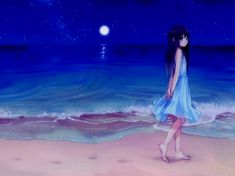 anime girl with moonlight