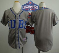 #Cubs Blank Grey Alternate Road Cool Base 2016 World Series Champions Stitched Youth MLB Jersey