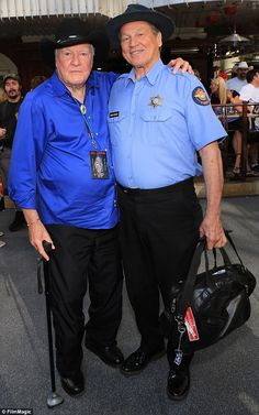 Gone too soon: James Best, pictured left with Sonny Shroyer in 2013, died on Monday at the age of 88