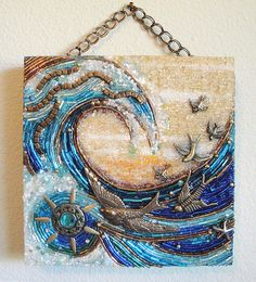 Morning sunlight plays on birds and windswept waves. This ocean-themed, 6 square, 1 thick beaded mosaic wall hanging is an original by Diana Maus. Easy to hang by its double-strand antique brass-colored chain. Mosaic Wall, Mosaic Glass, Mosaic Tiles, Glass Art, Stained Glass, Tiling, Mosaic Crafts, Mosaic Projects, Illustration Photo