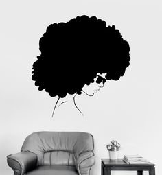 Vinyl Wall Decal Afro Style Woman Black Lady Stickers (ig3902)