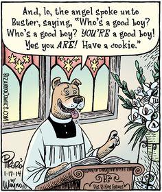 Dog Church Service Bizarro Comic, Coast To Coast Am, Christian Jokes, Religion, Dog Jokes, Dog Humour, Cartoon Dog, Dog Cartoons, Cartoon Posters