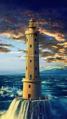 """❤ One of my favorite things: Lighthouses. Art work """"Golden Lighthouse"""" by Hans-Peter Kolb at the H. Lighthouse Pictures, Lighthouse Art, Lighthouse Drawing, Beautiful World, Beautiful Places, Beacon Of Light, Water Tower, Toscana, The Good Place"""