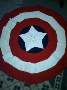 Captain America shield afghan! This is so comfortable & it is more than 5 ft talk all around!