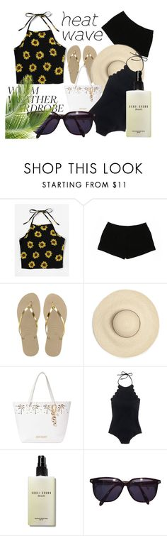 """""""How to Dress for a Heat Wave"""" by basmahahmed ❤ liked on Polyvore featuring Express, Havaianas, Betsey Johnson, J.Crew, Bobbi Brown Cosmetics and Sonia Rykiel"""