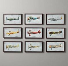 Vintage airplane prints/ would love a baby boys room designed around vintage planes. One day. ;)