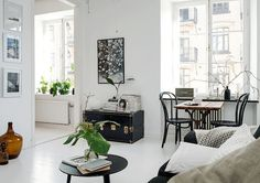 monochrome living room with large windows Tiny Apartments, Tiny Spaces, Beige Living Rooms, Living Spaces, Scandinavian Interior Design, Piece A Vivre, Small Living, Apartment Living, Interior Decorating
