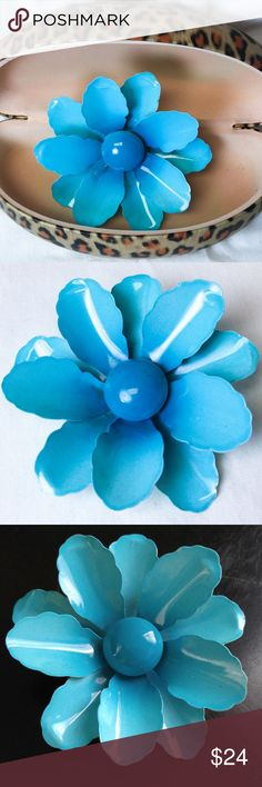 """Vintage Aqua Flower 4"""" Brooch Enamel Daisy 3D 1960's-1970's. Simplicity blue metal brooch. Blue Ombre Petals. The leaves are a gorgeous light color . This blue is more of a turquoise shade, the brooch is 5"""" x 5"""". Vintage flower jewelry.  I will ship this item quickly and safely and we appreciate you looking at our item for sale. Have a great day! Jewelry Brooches"""