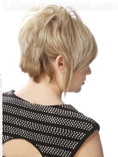 Super Straight Edgy Bob Back View - transform ordinary bob into punk rock, Brilliantine by Bumble & Bumble great texture cream, can take layers in back short & long swoopy bang