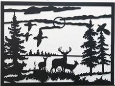 We use steel and powder coat to your desired color to protect against rust for life. Hirsch Silhouette, Silhouette Clip Art, Animal Silhouette, Personalized Wall Decor, Jugendstil Design, Glass Engraving, Deer Family, Wood Burning Patterns, Scroll Saw Patterns