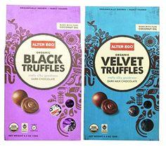 Alter Eco Organically Grown Fair Trade Dark Chocolate Truffles 2 Flavor Variety Bundle: (1) Alter Eco Black Truffles, (1) Alter Eco Dark Velvet Truffles, 4.2 Oz. Ea. Alter Eco