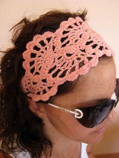 Crochet HeadBand - Hair Fashion Accessories - handcrochet headband in SALMON