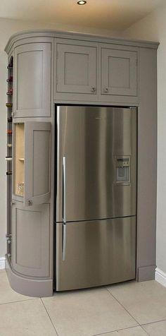 Super Kitchen Corner Refrigerator Pantries Ideas Super Kitchen Corner Fridge Pantries Ideas - Own Kitchen Pantry Luxury Kitchen Design, Best Kitchen Designs, Luxury Kitchens, Interior Design Kitchen, Cool Kitchens, Tuscan Kitchens, Kitchen Corner, Kitchen Pantry, Living Room Kitchen