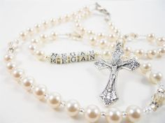 Personalized Ivory Cream Gold Swarovski Crystal Pearl Catholic Baptism Rosary for a Baby Boy or Baby Girl on Etsy, $41.00
