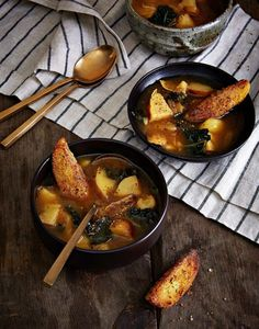Baked Potato & Greens Soup With Potato-Wedge Croutons | Isa Chandra Moskowitz