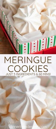 Meringue Cookies are the PERFECT light and sweet cookies made with ONLY 5 ingred. Meringue Cookies are the PERFECT light and sweet cookies made with ONLY 5 ingredients, and bake in under 60 minutes! Meringue Icing, Baked Meringue, Meringue Cookie Recipe, Meringue Desserts, Meringue Pavlova, Meringue Powder, Gourmet Recipes, Cookie Recipes, Dessert Recipes