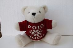 Vintage Ralph Lauren Polo Bear Collectible Plush white with red sweater jointed