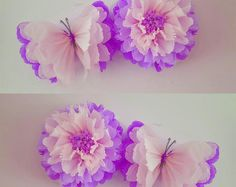 Items similar to 1 wall flower 1 butterfly girls birthday party decorations tissue paper wall butterflys nursery bedroom wedding sweet 16 baby shower on Etsy Butterfly Party, Butterfly Birthday, Butterfly Wall, Flower Wall, Girl Birthday, Butterfly Decorations, Flower Crafts, Diy Flowers, Birthday Party Decorations