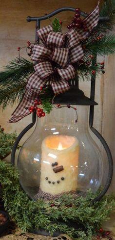 Snowman Motion Flame Pillar with Lantern