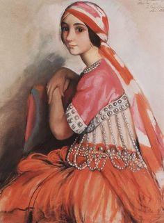 Artist: Zinaida Serebriakova  Completion Date: 1922  Style: Art Nouveau (Modern)  Genre: portrait  Tags: female-portraits