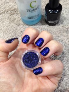 Jessica Blue Aria with Time to Sparkle Sapphire loose nail art glitter. Created by Leanne Thomas.