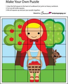 Puzzle Games English Activities For Kids, English Worksheets For Kids, Preschool Puzzles, Preschool Plans, Red Riding Hood Party, Make Your Own Puzzle, Little Red Hen, Tracing Worksheets, Nursery Rhymes