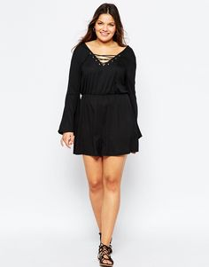Alice & You Jersey Romper With Bell Sleevess And Tie Front (plus size)