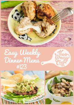 Come on in for today's menu of easy dinner recipes for the week including Beef and Black Bean Burgers, Cheese-Stuffed Meatballs, Salmon Sandwiches, and lots more!