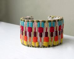 Tribal Jewelry, Cuff Bracelet, Southwest Summer Boho Fashion, Chevron Geometric, Red, Blue, Yellow, Orange, Green. $30.00 USD, via Etsy.