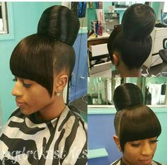 Flawless bun and bang via - Black Hair Information Community My Hairstyle, Ponytail Hairstyles, Hairstyles With Bangs, Weave Hairstyles, Pretty Hairstyles, Extension Hairstyles, Protective Hairstyles, Hairstyle Ideas, Updos